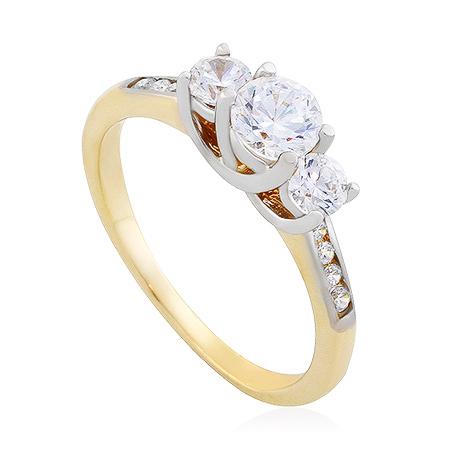 Фото«UG-2068-312»Золотое кольцо с фианитами желтое золото