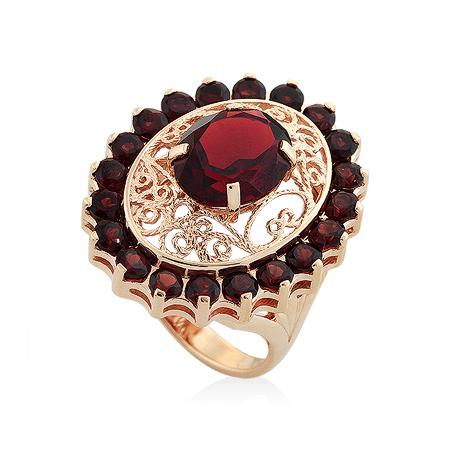 Фото«UG-2085-1053»Ажурный золотой перстень с гранатами