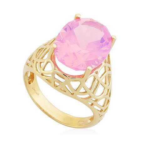 Фото«UG-2103-731»Золотой перстень с розовым кварцем в желтом золоте