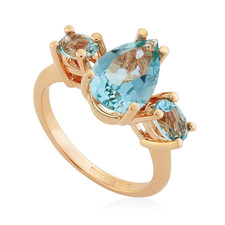 Фото«UG-2104-536»Золотое кольцо с голубыми топазами