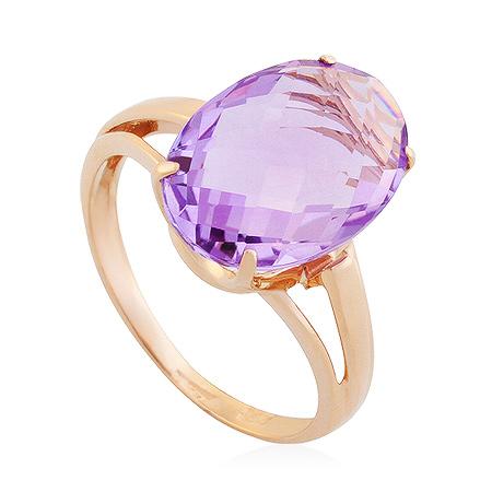 Фото«UG-2232-308»Кольцо из розового золота аметист овал