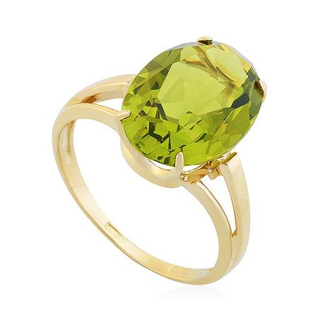 Фото«UG-2232-335»Золотое кольцо с большим хризолитом