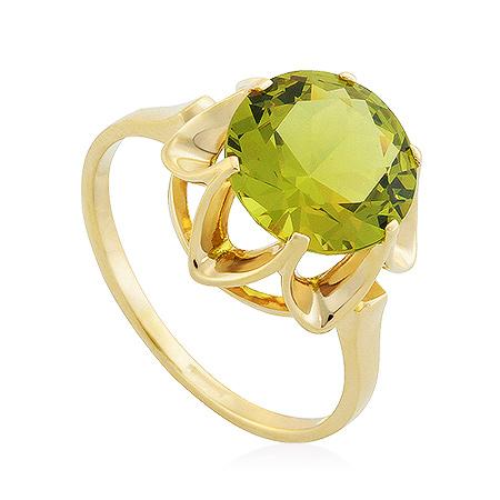 Фото«UG-2351-356»Золотое кольцо с хризолитом из желтого золота