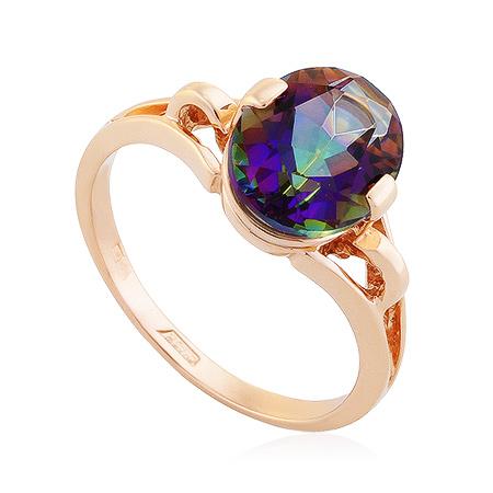 Фото«UG-2354-297»Золотое кольцо с кварцем мистик в розовом золоте