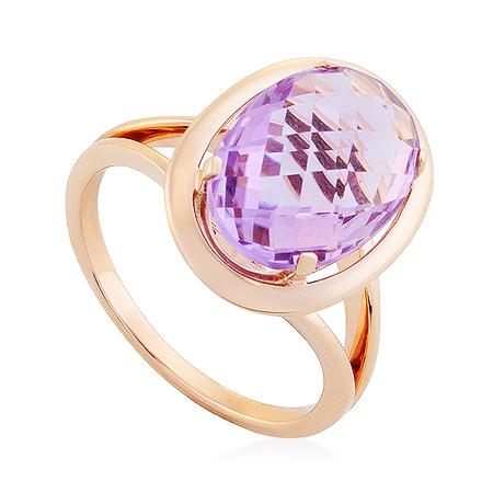 Фото«UG-2370-519»Золотое кольцо с крупным аметистом овал