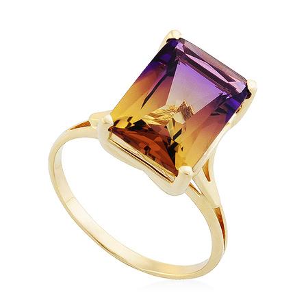 Фото«UG-2839-453»Золотое кольцо с аметрином в желтом золоте