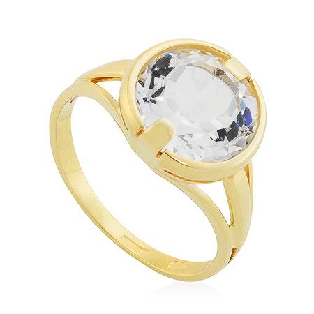 Фото«UG-2844-376»Золотое кольцо с горным хрусталем желтое золото