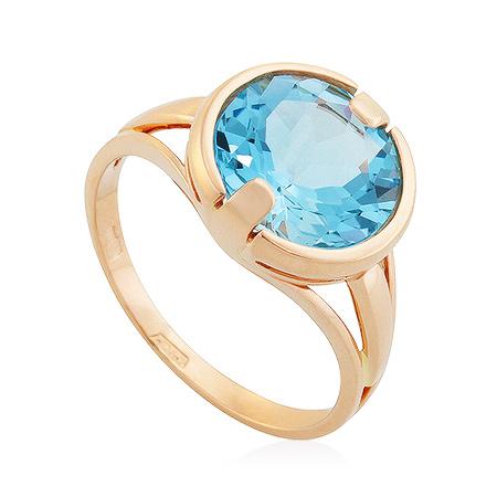 Фото«UG-2844-383»Золотое кольцо с голубым топазом