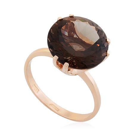 Фото«UG-2848-392»Золотое кольцо с раухтопазом в розовом золоте