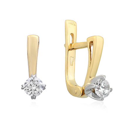 Фото«UG-3048-300»Золотые серьги с фианитом желтое золото