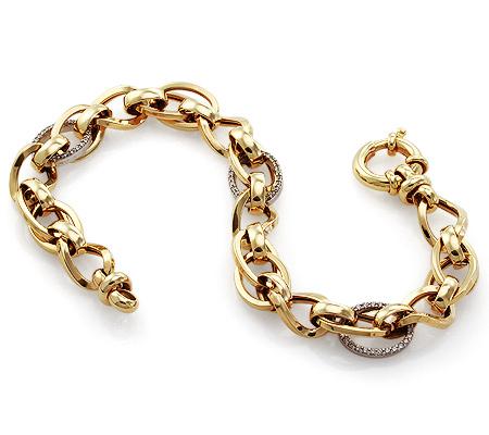 Фото«UV-20279174»Итальянский золотой браслет с фианитами