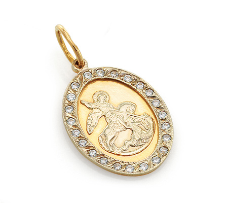 Фото«UV-20285682»Православный образок из золота с фианитами