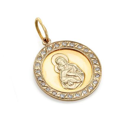 Фото«UV-20285683»Православный образок из золота с фианитами