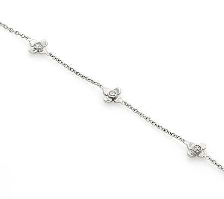 Фото«UV-20286022»Золотой браслет три цветочка с бриллиантами