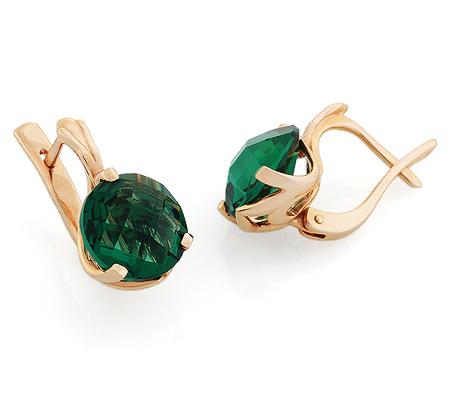 Фото«UG-3148-505»Золотые серьги с кварцем зелёным