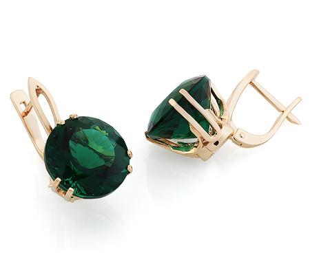 Фото«UG-3848-719»Золотые серьги с зеленым кварцем