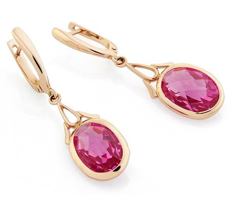 Фото«UG-3321-522»Золотые серьги с розовым кварцем