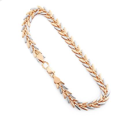 Фото«UV-20332976»Золотой цепочный женский браслет «Ёлочка»