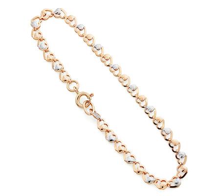 Фото«UV-20332980»Цепочный женский браслет «Сердечки» из золота