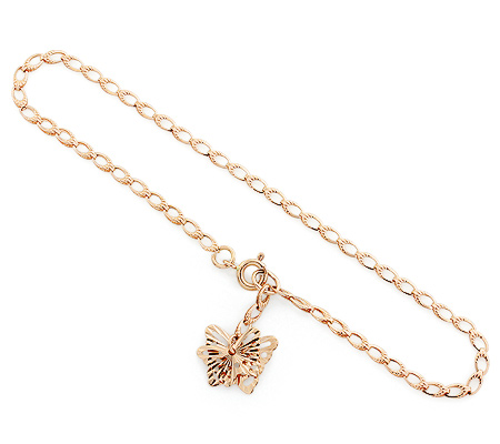Фото«UV-20332985»Золотой цепочный женский браслет с бабочками