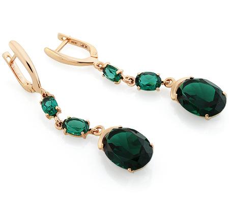 Фото«UG-3370-762»Золотые серьги с зелёным кварцем