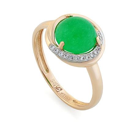 Фото«UG-350-255»Золотое кольцо с хризопразом и фианитами