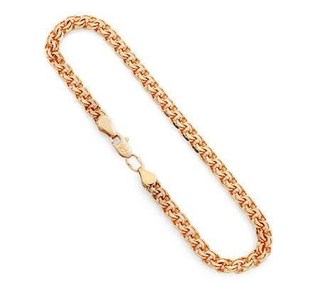Фото«UV-20335061»Золотой цепочный мужской браслет плетение «Бисмарк»