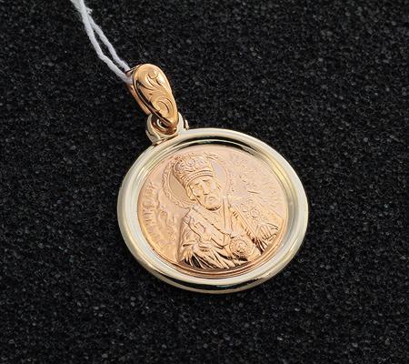 Фото«UV-751106-273»Золотой круглый образок «Образ Св. Николая Чудотворца»