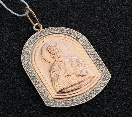 Фото«UV-7512122-511»«Образ Святого Николая Чудотворца» золото, фианиты
