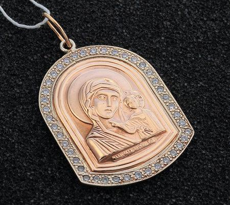 Фото«UV-7512122-533»Образ «Богоматерь Казанская» из красного и белого золота