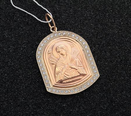 Фото«UV-7512122-574»Образок «Богоматерь Семистрельная» из золота
