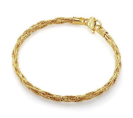 Фото«UV-20278703»Итальянский золотой браслет без камней - плетеный