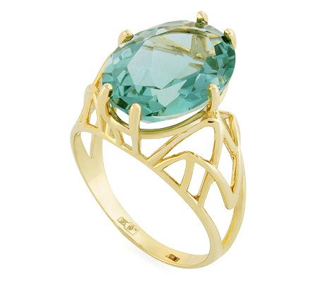 Фото«UG-2028-553»Перстень из желтого золота с аквамариновым кварцем