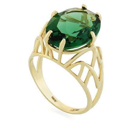 Фото«UG-2028-541»Перстень с зелёным кварцем желтое золото
