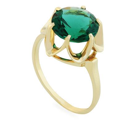 Фото«UG-2351-347»Красивое кольцо из желтого золота с зелёным кварцем