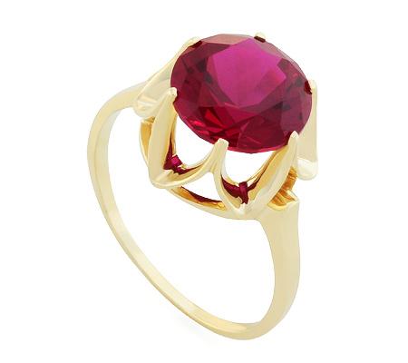 Фото«UG-2351-375»Красивое кольцо с корундом из желтого золота