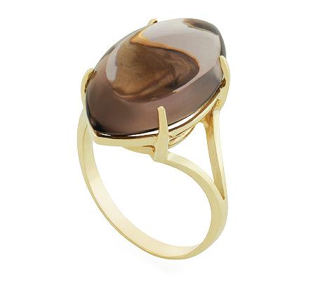 Фото«UG-2384-502»Кольцо из желтого золота с дымчатым кварцем
