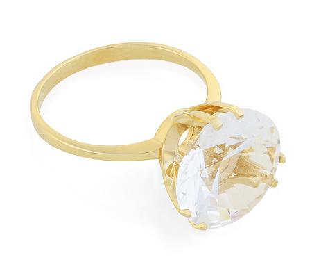 Фото«UG-2848-375»Кольцо с горным хрусталём жёлтое золото