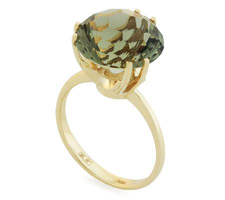 Фото«UG-2848-417»Кольцо из желтого золота с празеолитом