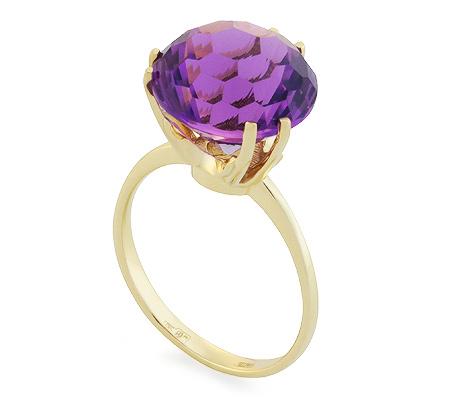 Фото«UG-2848-483»Кольцо из желтого золота с аметистом