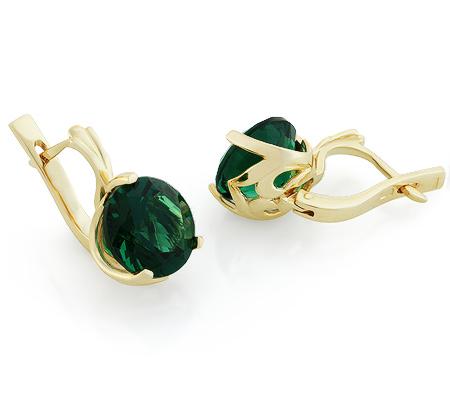 Фото«UG-3148-551»Серьги из желтого золота с зелёным кварцем