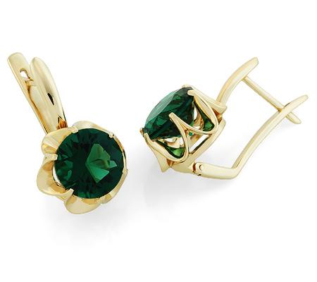 Фото«UG-3351-781»Красивые серьги с зелёным кварцем желтое золото