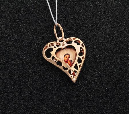 Фото«UV-K55-193»Образок с эмадью «Пресвятая богородица» в виде сердца