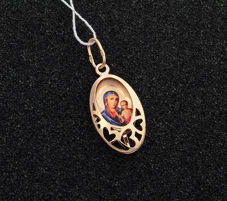Фото«UV-K55-212»Золотой образок с эмалью «Богоматерь Казанская»