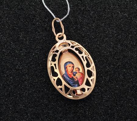 Фото«UV-K55-296»Образок «Богоматерь Казанская» красное золото, эмаль