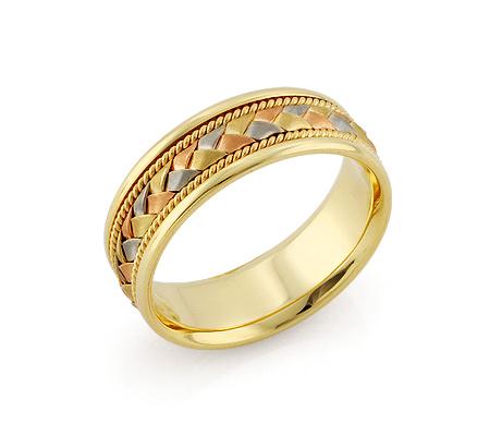 Фото«RG-V1040»Обручальное кольцо «Косичка» три цвета золота