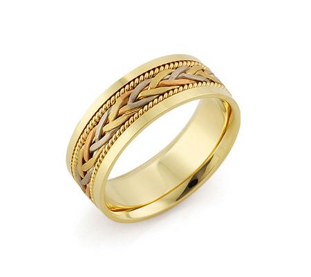 Фото«RG-V1042»Обручальное кольцо «Косичка» три золота