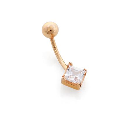 Фото«GZ-01952»Золотой пирсинг для пупка с фианитом принцесса