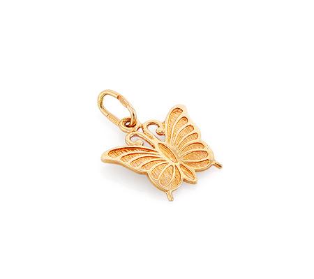 Фото«GZ-6539»Золотая подвеска без камней «Бабочка»