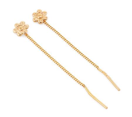 Фото«GZ-6563»Серьги протяжки из золота на конце цветочек